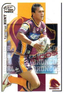 2005 NRL Power Base Card 10 Karmichael Hunt Broncos