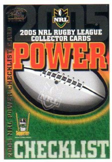 2005 NRL Power Base Card 1 Checklist