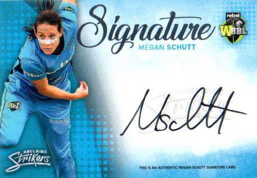 2017/18 BBL Big Bash Cricket Signature Card SS1 Megan Schutt Strikers #13/200