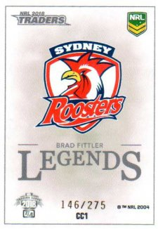 2018 NRL Traders Case Card CC1 Brad Fittler Roosters #146/275