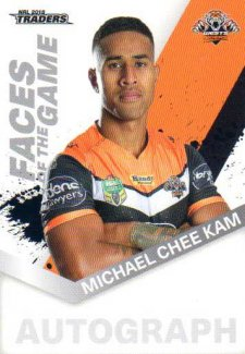 2018 NRL Traders Faces of the Game FG61 Michael Chee Kam Tigers