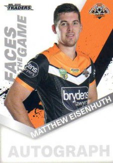 2018 NRL Traders Faces of the Game FG62 Matthew Eisenhuth Tigers