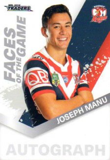 2018 NRL Traders Faces of the Game FG55 Joseph Manu Roosters