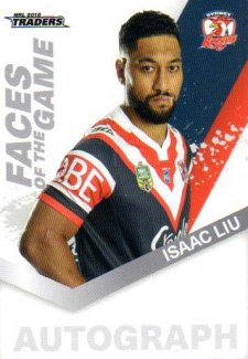 2018 NRL Traders Faces of the Game FG54 Isaac Liu Roosters