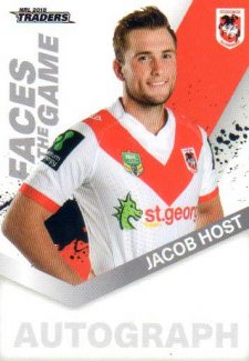 2018 NRL Traders Faces of the Game FG51 Jacob Host Dragons