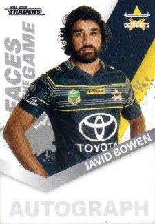 2018 NRL Traders Faces of the Game FG33 Javid Bowen Cowboys