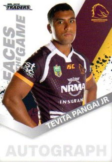 2018 NRL Traders Faces of the Game FG3 Tevita Pangai Jr Broncos