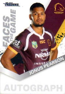 2018 NRL Traders Faces of the Game FG4 Jonus Pearson Broncos