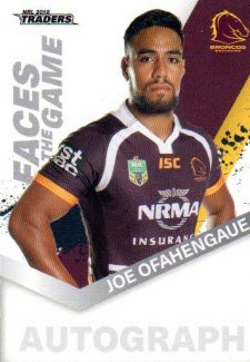 2018 NRL Traders Faces of the Game FG1 Joe Ofahengaue Broncos