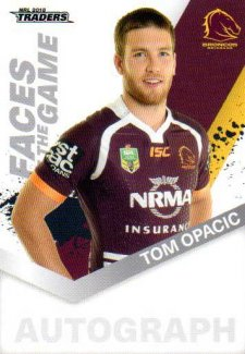 2018 NRL Traders Faces of the Game FG2 Tom Opacic Broncos