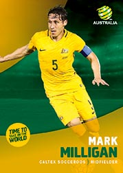 2017/18 Tap N Play FFA Football A-League Soccer Parallel Card 13 Mark Milligan Socceroos