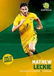 2017/18 Tap N Play FFA Football A-League Soccer Parallel Card 11 Mathew Leckie Socceroos