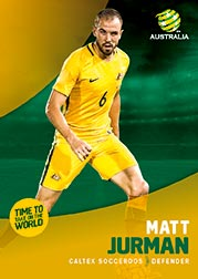 2017/18 Tap N Play FFA Football A-League Soccer Parallel Card 8 Matt Jurman Socceroos