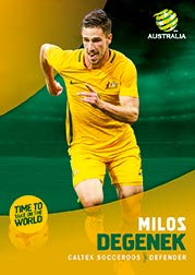 2017/18 Tap N Play FFA Football A-League Soccer Parallel Card 4 Milos Degenek Socceroos