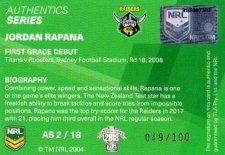 2018 NRL Traders Authentics Signature RLA2 Jordan Rapana Raiders