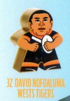 2018 NRL Xtreme Mini Footy Star Gold Figurine 32 David Nofoaluma Tigers