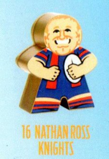 2018 NRL Xtreme Mini Footy Star Gold Figurine 16 Nathan Ross Knights
