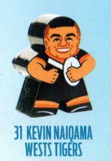 2018 NRL Xtreme Mini Footy Star Base Figurine 31 Kevin Naiqama Tigers