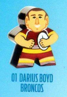 2018 NRL Xtreme Mini Footy Star Base Figurine 1 Darius Boyd Broncos