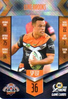2018 NRL Xtreme Special Parallel SP137 Luke Brooks Tigers