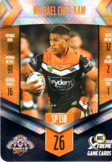 2018 NRL Xtreme Special Parallel SP138 Michael Chee-Kam Tigers