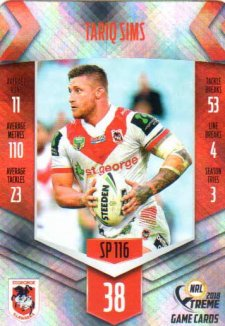 2018 NRL Xtreme Special Parallel SP116 Tariq Sims Dragons