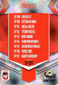2018 NRL Xtreme Special Parallel SP109 St George Dragons Checklist