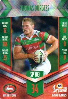 2018 NRL Xtreme Special Parallel SP103 Thomas Burgess Rabbitohs