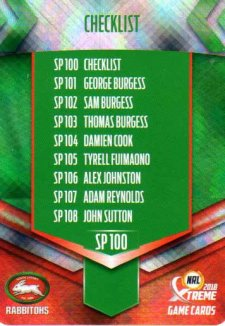 2018 NRL Xtreme Special Parallel SP100 South Sydney Rabbitohs Checklist