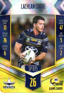 2018 NRL Xtreme Special Parallel SP75 Lachlan Coote Cowboys