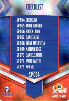 2018 NRL Xtreme Special Parallel SP64 Newcastle Knights Checklist
