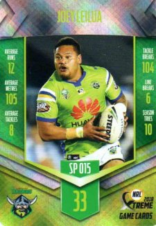 2018 NRL Xtreme Special Parallel SP15 Joey Leilua Raiders