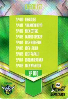 2018 NRL Xtreme Special Parallel SP10 Canberra Raiders Checklist