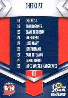 2018 NRL Xtreme 10-Card Base Team Set Sydney Roosters