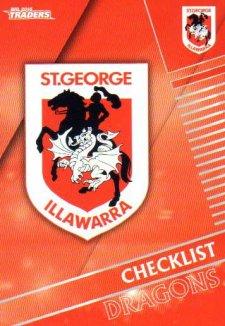 2018 NRL Traders 10-Card Base Team Set St George Dragons