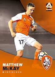2017/18 Tap N Play FFA Football A-League Soccer Parallel Card 67 Matthew McKay Brisbane Roar
