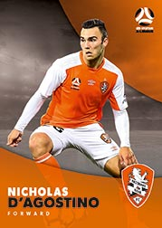 2017/18 Tap N Play FFA Football A-League Soccer Parallel Card 60 Nicholas D'Agostino Brisbane Roar