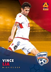 2017/18 Tap N Play FFA Football A-League Soccer Parallel Card 51 Vince Lia Adelaide United