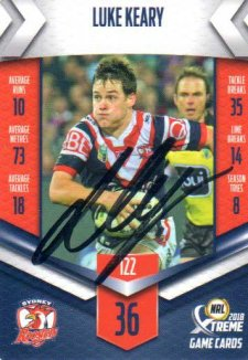 2018 NRL Xtreme Signature Card Luke Keary Roosters