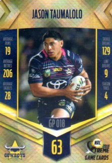 2018 NRL Xtreme Gold Parallel GP18 Jason Taumalolo Cowboys