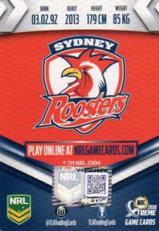 2018 NRL Xtreme Signature Case Card Luke Keary Roosters