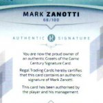 2017 Regal Greats of the Game Century Signature CS-MZ Mark Zanotti #69/100