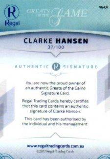 2017 Regal Greats of the Game Century Signature CS-CH Clarke Hansen #37/100