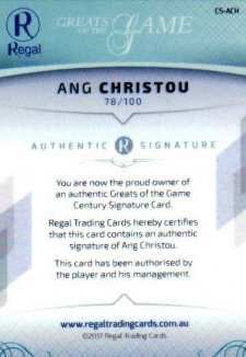 2017 Regal Greats of the Game Century Signature CS-ACH Ang Christou #78/100