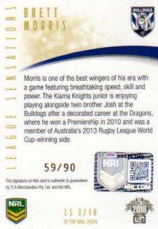 2018 NRL Elite League Sensations Signature LS3 Brett Morris Bulldogs