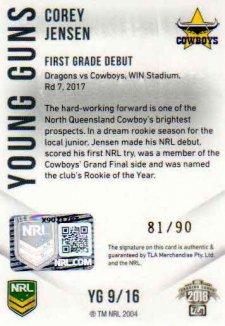 2018 NRL Elite Young Guns Signature YG9 Corey Jenson Cowboys