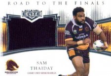 2018 NRL Elite Road to the Finals Jersey RF1 Sam Thaiday Broncos