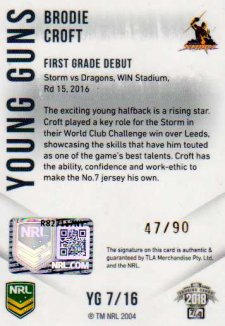 2018 NRL Elite Young Guns Signature YG7 Brodie Croft Storm