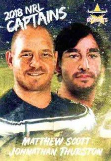 2018 NRL Elite Captains Card CC9 Matthew Scott / Johnathan Thurston Cowboys
