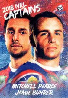 2018 NRL Elite Captains Card CC8 Mitchell Pearce / Jamie Buhrer Knights